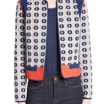 Tory Burch Rainford Clip Jacquard Quilted Jacket | Nordstrom