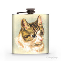 Sweet Vintage Kitty Cat -  6oz or 8oz Liquor Hip Flask