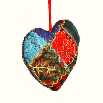Textile heart ornament red & blue by BozenaWojtaszek on Etsy