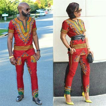 2018 New African dress for women Prints Traditional Dashiki Men Women Uniforms Not equipped with waistband