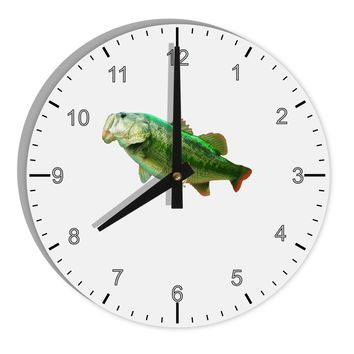 """Big Bass Fish 8"""" Round Wall Clock with Numbers"""