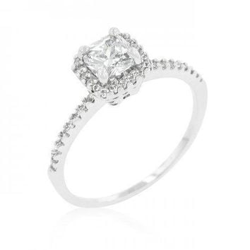 Princess Cut Halo Engagement Ring (size: 10) (pack of 1 ea)