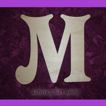 unfinished wood letter M wood letter 6 inch tall
