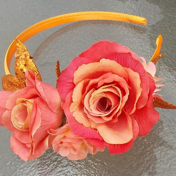 Sunset Rose Fairy Flower Headband Fascinator Crown with Orange Rose Flowers and Copper Colored Glittery Leaves G09