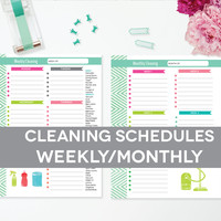 Cleaning Schedule Printable, Weekly Monthly, Clean House Schedule Checklist, EDITABLE PDF Instant Download, 8.5x11