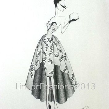 1950s Dress Fashion Illustration / 50s vine dress / pencil art / hand drawn art / fashion decor / fashion sketches /  art gift