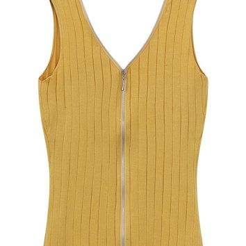 Sexy Women Knitted V-Neck Zipper Pure Color Tank Tops