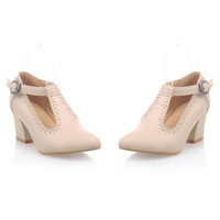 Small Pointed Buckle Thick Heel Thin Shoes  apricot