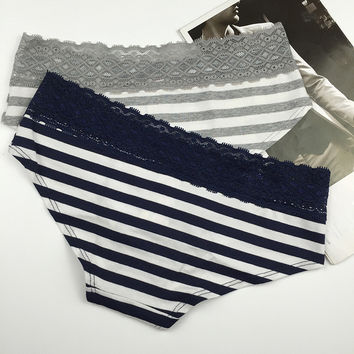 Lace Ladies Stripes Cotton Panties [10304895436]