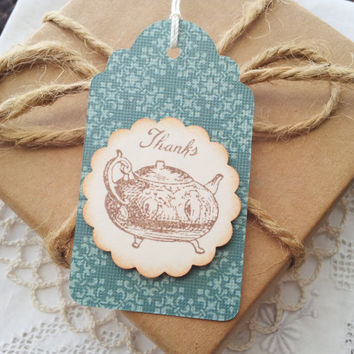 Vintage Inspired Teapot Thanks Tags Set of 6