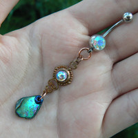 abalone belly ring, amethyst ,mermaid belly ring, beach belly ring