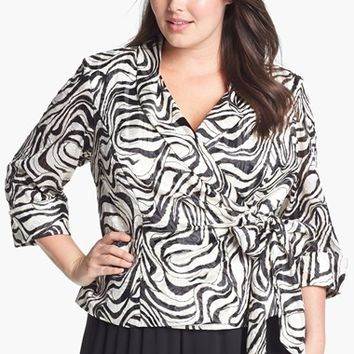 Plus Size Women's Alex Evenings Print Wrap Blouse