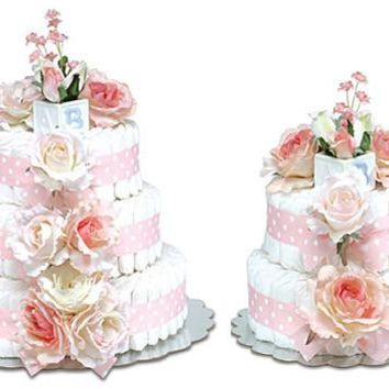Bloomers Classic Pink Roses Baby Diaper Cake