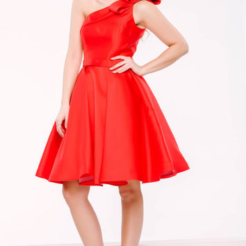 Red One Shoulder Knee Length Dress 26909