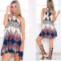 Sexy Women Summer Holiday Boho Halterneck Chiffon Evening Party Short Beach Dress = 5657687553