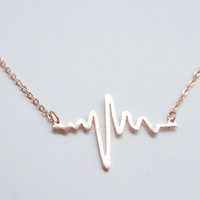 Rose gold heart rate necklace,rose gold heart beat necklace