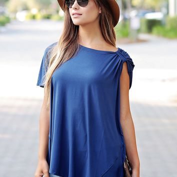 Navy PIKO Asymmetrical Brooched Top