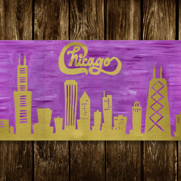 Chicago wall art, Chicago skyline, Wall art, Mixed Media collage Art, Chicago art, Illinois art, decorative art, Chicago print