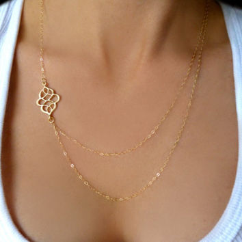 Double hollow out auspicious chain Necklace Gold Delicate Y Necklace Gold V Necklace Tiny long Necklace XL153