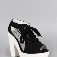 Qupid Canvas Cutout Lace Up Platform Heel Color: Black, Size: 8