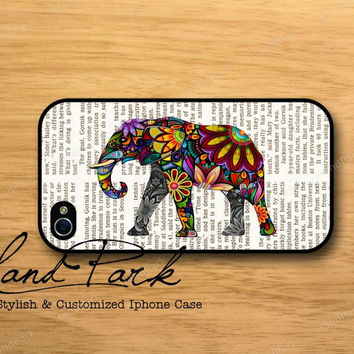 Elephant on Newspaper iPhone 4 Case iPhone 4s Case by HandPark