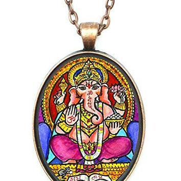 Ganesh God Intellect Wisdom Huge 30x40mm Talisman Antique Copper Pendant with Chain Necklace
