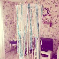 Boho Nursery Decor - Bed Canopy - Bohemian Bedroom - Baby Crib Decor - Dreamcatcher Mobile - Cottage Chic Bed Crown - Made to Order