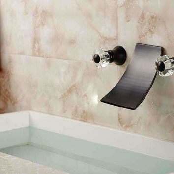 Modern Oil Rubbed Bronze Waterfall Spout Bathroom Faucet Crystal Handles Mixer