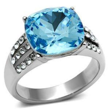 Waterfall - FINAL SALE Striking Contemporary Design Cushion Cut Aquamarine Solitaire Crystal ring