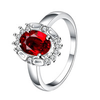 Ruby Red Gem Circular Jewels Ring