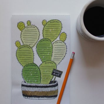 Cactus Weekly List Notepad
