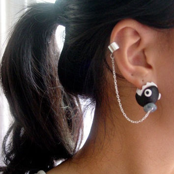Super Mario Nintendo Ear Biting Chain Chomp Cuff  Earrings