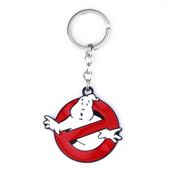 dongsheng Movie Ghostbusters Keychain Funny key Chains Red White Halloween Ghost Ghostbusters Keyrings Women Men Cosplay Gift