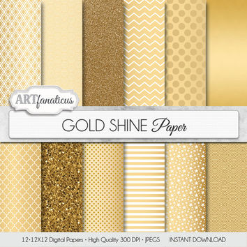"Gold digital paper, Christmas gold paper ""GOLD SHINE"" gold background, gold glitter, golden stars, chevron, gold quatrefoil, blog background"