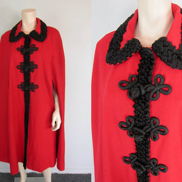 Vintage 60s 70s Red Wool Faux Curly Lamb Cape Victorian Cloak Draped Steampunk Jacket Frog Closure Hippie Boho