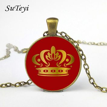 SUTEYI NEW Tags Pendant Couple Necklace Her King & His Queen Crown Round glass cabochon Necklace for Lover Dropshipping