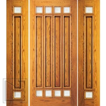 Pre-hung Mahogany 8 Lite Entry Two Side lights Door