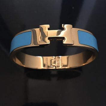Hermes Clic Clac Bracelet Blue And Gold Hallmarked 2013 Size 7.5 PM