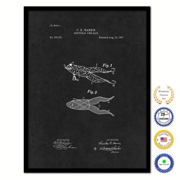 1897 Fishing Artificial Fish Bait Vintage Patent Artwork Black Framed Canvas Home Office Decor Great for Fisherman Cabin Lake House