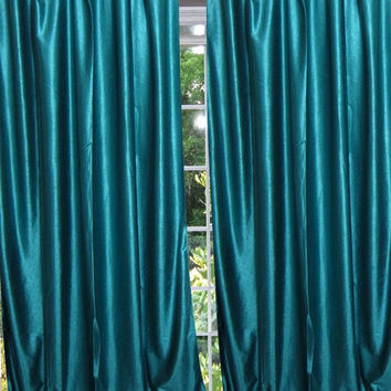 "Teal Blue Tab Top Sari Curtain / Drape / Panel- Pair India Window Treatment (Size: Length: 96"".)"