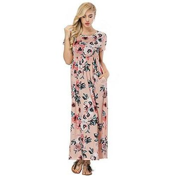 HOOYON Dress for Women Floral Summer Casual Maxi Dresses with Pockets