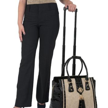 """THE MONTECITO"" Python & Alligator Rolling Laptop Carryall Trolley Bag with Spinner Wheels"