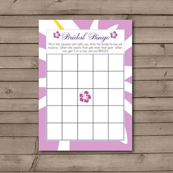 Purple Hawaiian Bridal Shower Bingo Cards: INSTANT DOWNLOAD