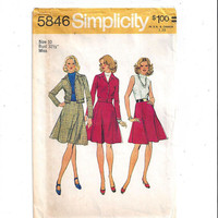 Simplicity 5846 Pattern for Misses' Unlined Jacket & Dress, Size 10, From 1973, Vintage Pattern, Home Sewing, 1973 Fashion, Bomber Jacket