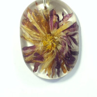 Real flowers. Dried Flower jewelry, botanical necklace suspended in resin. Pressed flower pendant. Rustic and Boho, eco friendly botanical