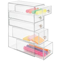 mDesign Office Supplies Desk Organizer for Paper Clips, Sticky Notes, Highlighters, Tape - 5 Drawers, Clear
