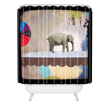 Natalie Baca Abstract Circus Elephant Shower Curtain