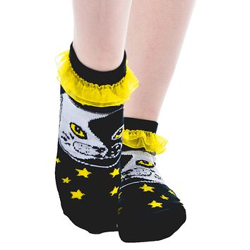 Ying Yang Cat & Stars Yellow Ruffle Ankle Socks