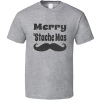 Merry Stache Mas Funny Mustache Christmas T Shirt