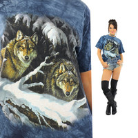 Wolf shirt animal tee 90s graphic tshirt gothic Vintage 1990s grunge hipster blue short sleeve Oversize Medium